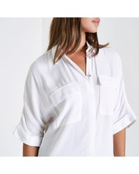 River Island - White Midi Shirt Dress - Lyst