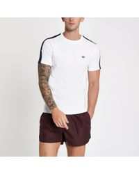 River Island - White Wasp Embroidered Tape Slim Fit T-shirt for Men - Lyst