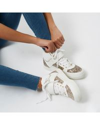 River Island - White Glitter Panel Hi Tops - Lyst