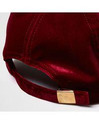 River Island Red Burgundy Velvet Cap for men