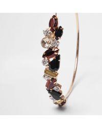 River Island - Metallic Gold Tone Jet Stone Hoop Earrings - Lyst