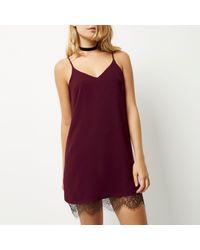 River Island Dark Purple Lace Hem Slip Dress