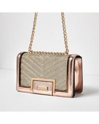 River Island - Yellow Rose Gold Quilted Panel Chain Shoulder Bag - Lyst