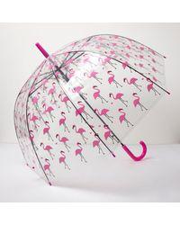 River Island Pink Clear Flamingo Print Umbrella