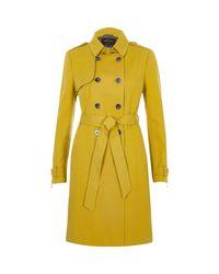 River Island - Yellow Tie Waist Trench Coat - Lyst