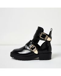 c0a2ef881a9b Lyst - River Island Black Patent Wide Fit Cut-out Buckle Boots in Black
