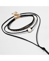 River Island - Black Layered String Diamanté Bolo Chokers - Lyst