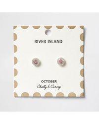 River Island | Pink October Birthstone Stud Earrings | Lyst