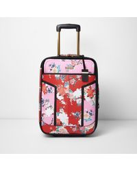 0549a24f19 River Island Pink And Red Floral Print Cabin Suitcase in Pink - Lyst