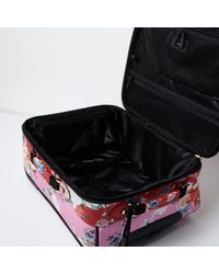 River Island | Pink And Red Floral Print Cabin Suitcase | Lyst