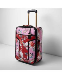 River Island - Pink And Red Floral Print Cabin Suitcase - Lyst