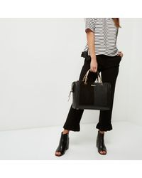 River Island - Black Snakeskin Embossed Tote Bag - Lyst