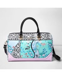 River Island | Blue Floral And Snake Print Weekend Bag | Lyst