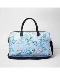 River Island - Blue Floral And Snake Print Weekend Bag - Lyst
