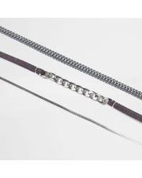 River Island - Metallic Silver Tone 3 Row Chain Choker Set - Lyst
