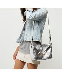 River Island - Silver Metallic Leather Chain Shoulder Bag - Lyst