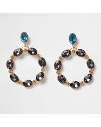 River Island | Metallic Gold Tone And Topaz Oval Gem Hoop Earrings Gold Tone And Topaz Oval Gem Hoop Earrings | Lyst