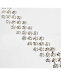 River Island | Metallic Silver Tone Diamante Cup Chain Bracelet | Lyst