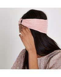 River Island - Pink Pleated Rhinestone Pave Circle Headband - Lyst