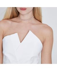 River Island - Pink Rose Gold Tone Diamante Choker - Lyst