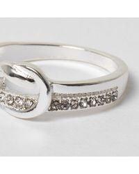 River Island | Metallic Silver Tone Diamante Knot Ring | Lyst