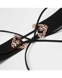 River Island - Plus Black Filigree Corset Choker - Lyst