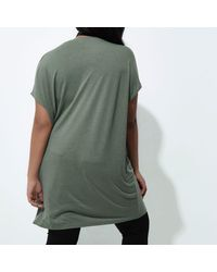 River Island - Plus Khaki Green Slashed Oversized T-shirt - Lyst