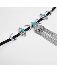 River Island - Metallic Silver Tone Moon And Turquoise Stone Choker - Lyst