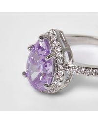 River Island - Metallic Silver Tone Lilac Diamante Ring - Lyst