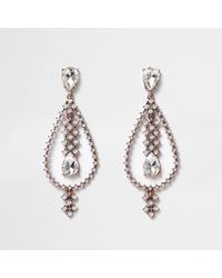 River Island - Metallic Rose Gold Tone Teardrop Dangle Earrings - Lyst