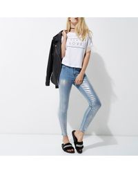 River Island | Mid Blue Metallic Coated Molly Jeggings | Lyst