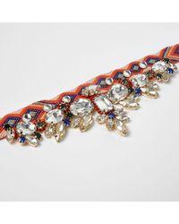 River Island - Orange Aztec Jewel Embellished Choker - Lyst