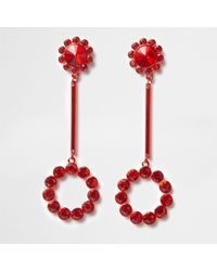 River Island - Red Cup Chain Circle Drop Earrings - Lyst
