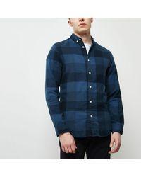 River Island - Dark Blue Jack & Jones Check Shirt for Men - Lyst