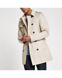 River Island - Light Brown Double Breasted Smart Belted Mac for Men - Lyst
