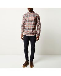 River Island - Orange Check Flannel Shirt for Men - Lyst