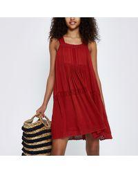 c8f0d8f46aba River Island Lace Open Back Swing Dress in Red - Lyst