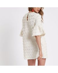River Island - White Jacquard Geo Print Swing Dress - Lyst