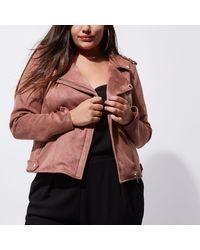 River Island - Plus Dark Pink Faux Suede Biker Jacket - Lyst