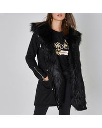Miss selfridge faux fur collar smart parka black