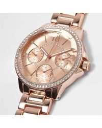 River Island - Multicolor Rose Gold Tone Round Diamante Watch - Lyst