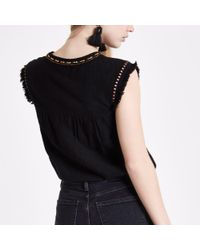 River Island - Black Aztec Embroidered Sleeveless Tassel Top - Lyst