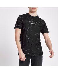 River Island - Black 'leave Nothing' Print Slim Fit T-shirt for Men - Lyst