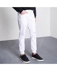 River Island - White Ryan Distressed Jogger Jeans for Men - Lyst
