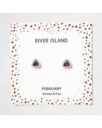 River Island - Purple Gem February Birthstone Stud Earrings - Lyst