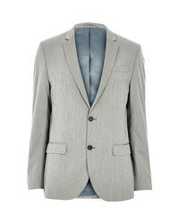 River Island - Gray Grey Slim Suit Jacket for Men - Lyst