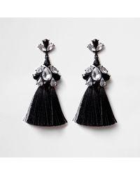 River Island - Black Diamante Triple Tassel Earrings Black Diamante Triple Tassel Earrings - Lyst