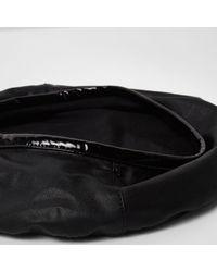 River Island - Black Faux Leather Trim Beret - Lyst