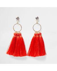 River Island - Red Tassel Drop Earrings - Lyst