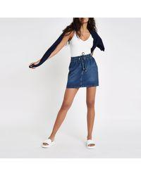 River Island - Blue Dark Drawstring Stripe Mini Denim Skirt - Lyst